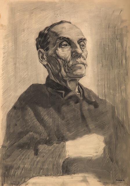 Рисунок Валерия Гегамяна #224 студенческая работа «Старик в черном» фото