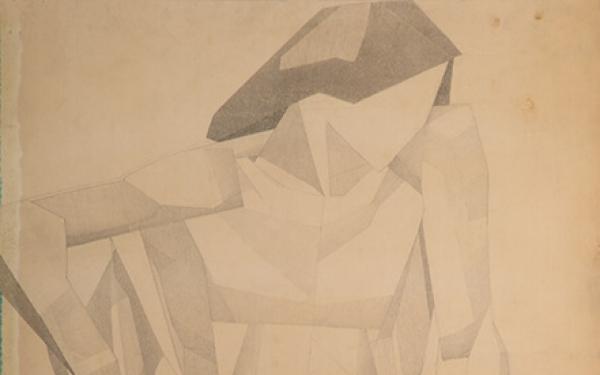 Малюнок Валерія Гегамяна #187 «Молода натурниця з зігнутою ногою»  фото