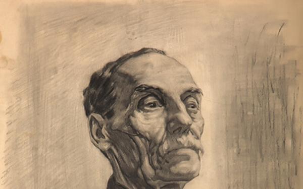 Малюнок Валерія Гегамяна #224 студентська робота «Старий в чорному»  фото
