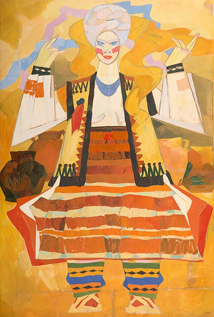 Photo of Valery Geghamyan`s painting #002 «Huzul Woman with Raised Hands»