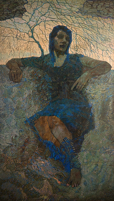 Photo of Valery Geghamyan`s painting #050 «Portrait of Wife in Blue»