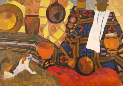 Photo of Valery Geghamyan`s painting #022 «Stil Life with a Cat»